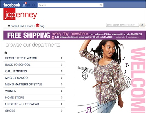 JCPenney's Facebook store, now closed