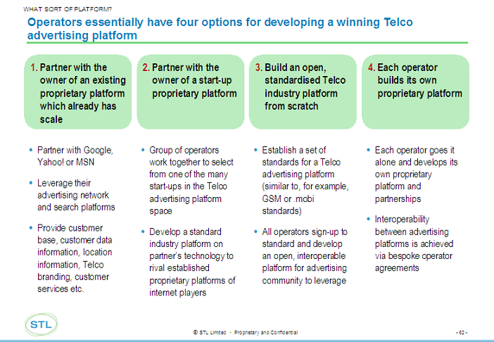 ... have 4 strategic options for developing a Telco advertising platform: